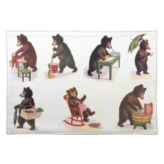 Busy Bears at Work from 1907 Cloth Placemat