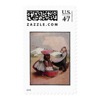 Busy Bears Washing Clothes Postage Stamp