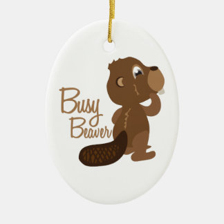 Busy Beaver Double-Sided Oval Ceramic Christmas Ornament