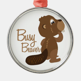 Busy Beaver Metal Ornament