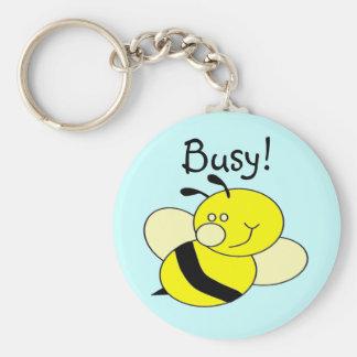 Busy Bee Basic Round Button Keychain