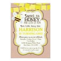 Busy Bee Birthday Invitation for boy or girl