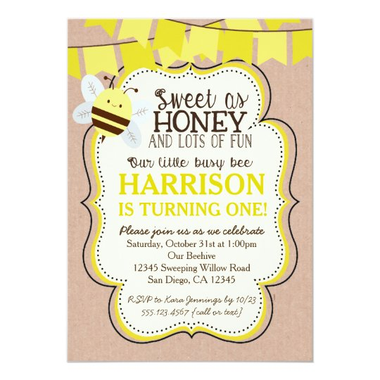 Busy Bee Birthday Invitation For Boy Or Girl Zazzle Com