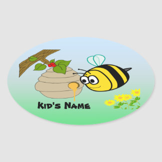 Busy Bee Cute Kid's Oval Sticker