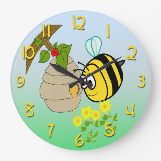 Busy Bee Cute Kid's Round Wall Clock