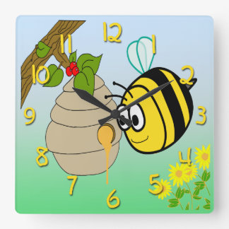 Busy Bee Cute Kid's Square Wall Clock