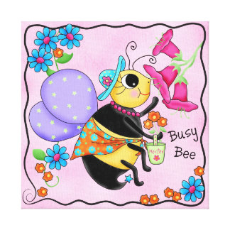 Busy Bee Dressed Whimsy Honey Bee Pink Art Canvas Print