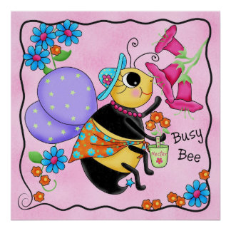 Busy Bee Dressed Whimsy Honey Bee Pink Art Poster