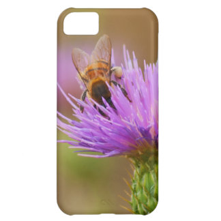 Busy Bee In Purple Thistle Close Up Photograph iPhone 5C Covers