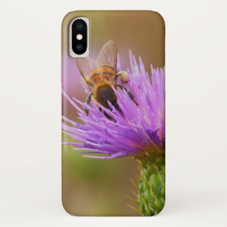 Busy Bee In Purple Thistle Close Up Photograph iPhone X Case