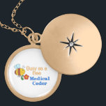 """Busy Bee Medical Coder Gold Plated Necklace<br><div class=""""desc"""">You&#39;ll love this whimsical busy bee on mugs,  shirts,  &amp; more for Medical Coders.  Make nice gifts,  too!</div>"""