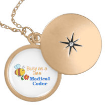 Busy Bee Medical Coder Gold Plated Necklace