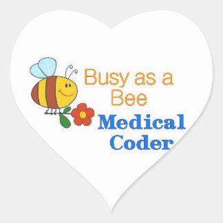 Busy Bee Medical Coder Heart Sticker