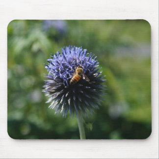 Busy Bee on a Round Purple Flower Mouse Pad
