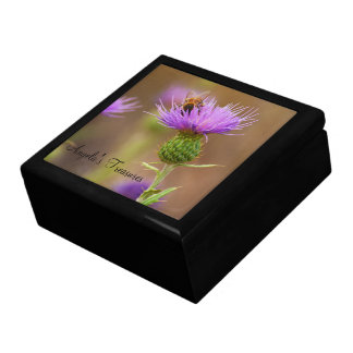 Busy Bee On Purple Thistle Close Up Photograph Gift Box