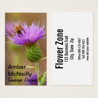 Busy Bee On Purple Thistle Photograph Business Card