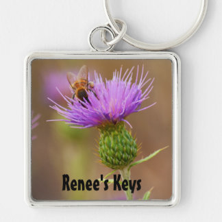 Busy Bee On Purple Thistle Photograph Keychain