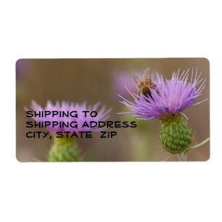 Busy Bee On Purple Thistle Photograph Label