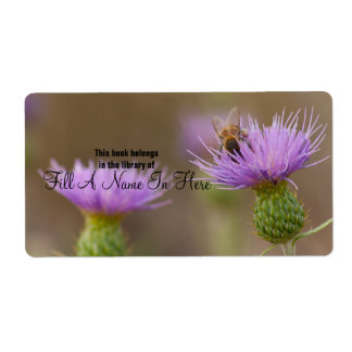 Busy Bee On Purple Thistle Photograph Personalized Shipping Label