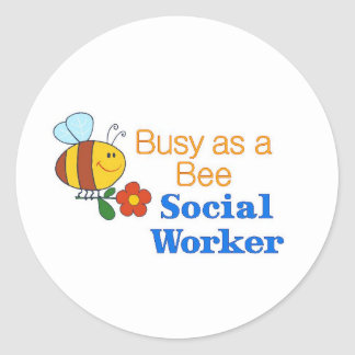 Busy Bee Social Worker Classic Round Sticker