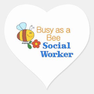 Busy Bee Social Worker Heart Sticker