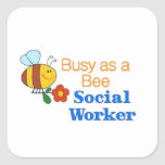 Busy Bee Social Worker Square Sticker
