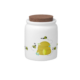 Busy Bees Around Their Beehive Candy Jar