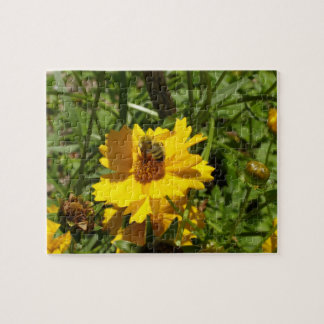 Busy Bees on Yellow Flowers Jigsaw Puzzle