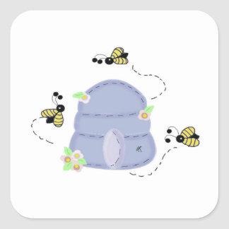 Busy Bees with their Beehive Square Sticker