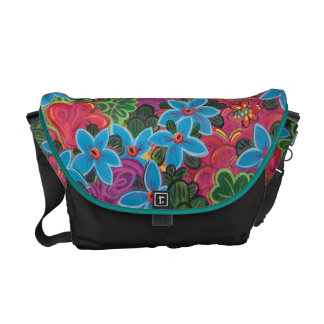 Busy Bugs and Flowers Abstract Garden Painting Courier Bags