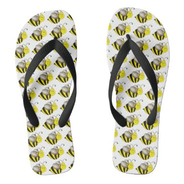 Professional Business Busy Bumble Bee Bumblebee Yellow Black Bees Print Flip Flops