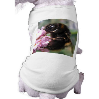 Busy Bumblebee and Pink Flowers Dog T Shirt