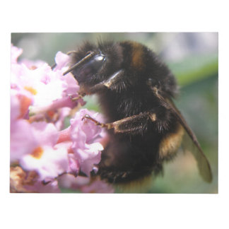Busy Bumblebee and Pink Flowers Notepad