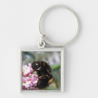 Busy Bumnlebee and Pink Flowers Keychain