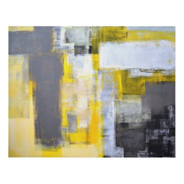Professional Business 'Busy, Busy' Grey and Yellow Abstract Art