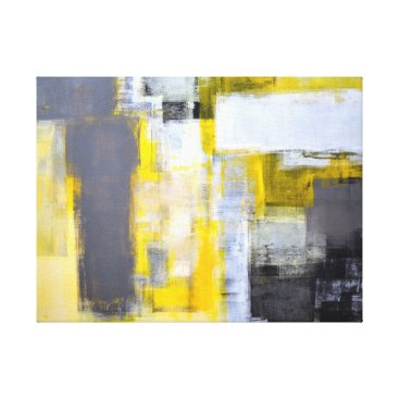 Professional Business 'Busy, Busy' Grey and Yellow Abstract Art Canvas Print