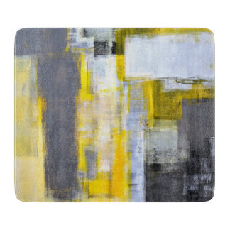 'Busy, Busy' Grey and Yellow Abstract Art Cutting Board