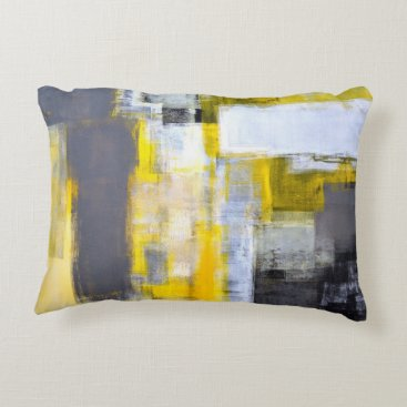 Professional Business 'Busy, Busy' Grey and Yellow Abstract Art Decorative Pillow