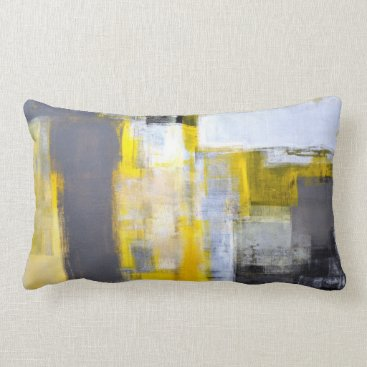Professional Business 'Busy, Busy' Grey and Yellow Abstract Art Lumbar Pillow