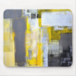 'Busy, Busy' Grey and Yellow Abstract Art Mouse Pad