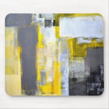 Professional Business 'Busy, Busy' Grey and Yellow Abstract Art Mouse Pad