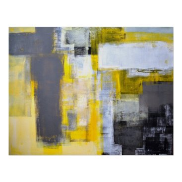 Professional Business 'Busy, Busy' Grey and Yellow Abstract Art Poster