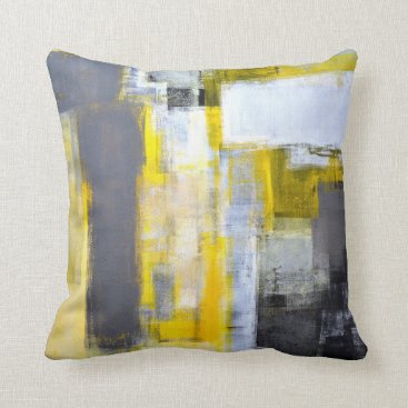 Professional Business 'Busy, Busy' Grey and Yellow Abstract Art Throw Pillow