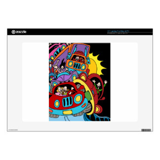 Busy Car Drivers Cartoon Skins For Laptops