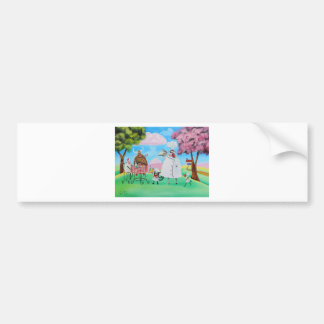 Busy Chefs cow sheep frog cat folk painting Bumper Sticker