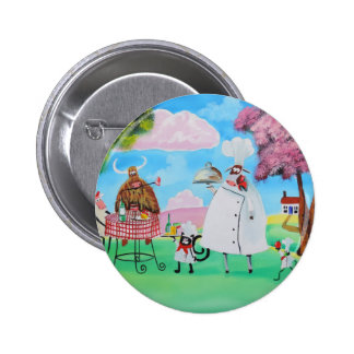 Busy Chefs cow sheep frog cat folk painting Button