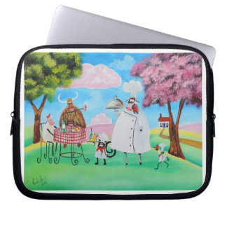Busy Chefs cow sheep frog cat folk painting Laptop Sleeve