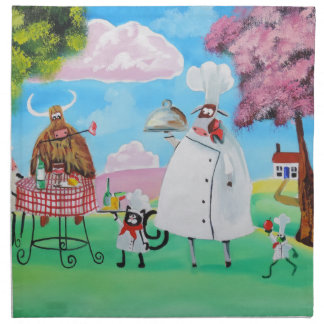 Busy Chefs cow sheep frog cat folk painting Napkin