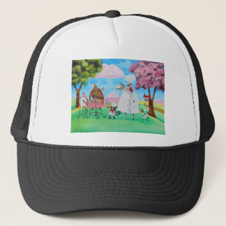 Busy Chefs cow sheep frog cat folk painting Trucker Hat