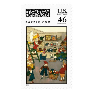Busy Christmas Elves at the North Pole factory Postage Stamp
